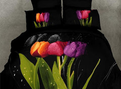 3D Colorful Tulips Printed Cotton Luxury 4-Piece Black Bedding Sets/Duvet Covers