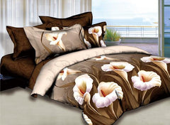 3D Calla Lily Printed Cotton Luxury 4-Piece Camel Bedding Sets/Duvet Cover
