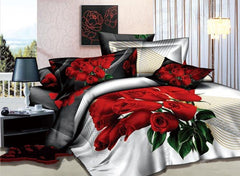 3D A Bunch of Red Roses Printed Cotton Luxury 4-Piece White Bedding Sets