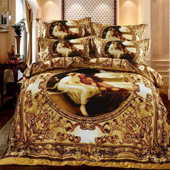 Luxury Yellow Famous Painting Print Luxury 4 Piece Bedding