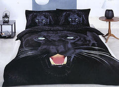 3D Black Panther Printed Cotton Luxury 4-Piece Bedding Sets/Duvet Covers