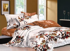 Chinese Ink and Wash Printed Brown Luxury 4-Piece Cotton Bedding Sets