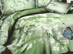 3D White Blooms and Butterfly Green Cotton Luxury 4-Piece Bedding Sets/Duvet Covers