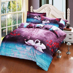 3D White Swans and Flower Printed Cotton Luxury 4-Piece Bedding Sets/Duvet Covers