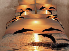 3D Dolphin in the Setting Sun Printed Cotton Luxury 4-Piece Bedding Sets/Duvet Covers