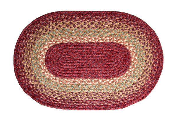 Burgundy/Maroon/Sunflower Braided Rug In Different Shapes And Sizes