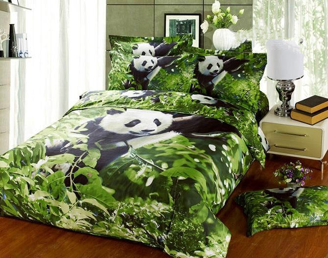 3D Panda Climbing Tree Printed Cotton Luxury 4-Piece Green Bedding Sets/Duvet Covers