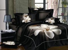 3D White Magnolia Printed Cotton Luxury 4-Piece Bedding Sets