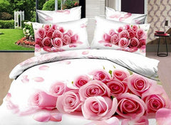 3D Bunch of Pink Roses Printed Cotton Luxury 4-Piece White Bedding Sets