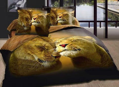 3D Lion Couple Printed Cotton Luxury 4-Piece Bedding Sets/Duvet Covers