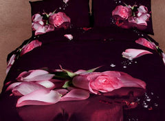 3D Rose and Butterfly Retro Style Cotton Luxury 4-Piece Bedding Sets/Duvet Covers