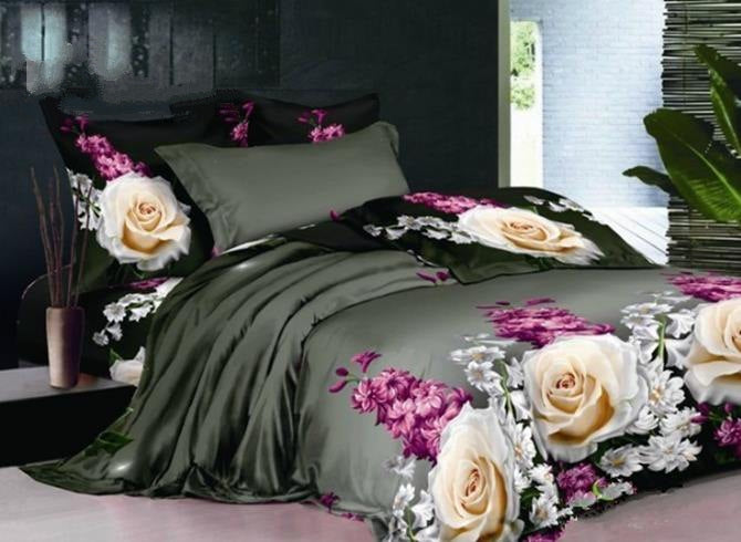 3D Rose and Hyacinth Printed Cotton Luxury 4-Piece Black Bedding Sets