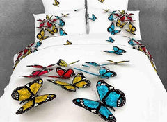 3D Colorful Butterflies Cotton Luxury 4-Piece White Bedding Sets/Duvet Covers