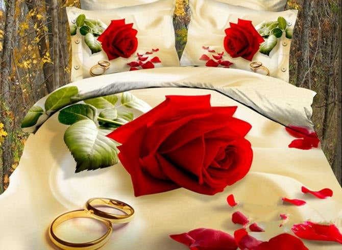 3D Red Rose with Golden Rings Printed Cotton Luxury 4-Piece Bedding Sets