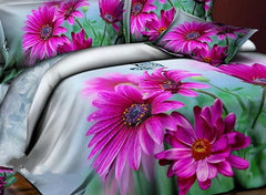 3D Purple Dahlia Green Leaves Printed Cotton Luxury 4-Piece Bedding Sets/Duvet Cover