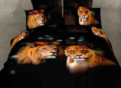 3D A Couple of Lions Printed Cotton Luxury 4-Piece Black Bedding Sets/Duvet Covers