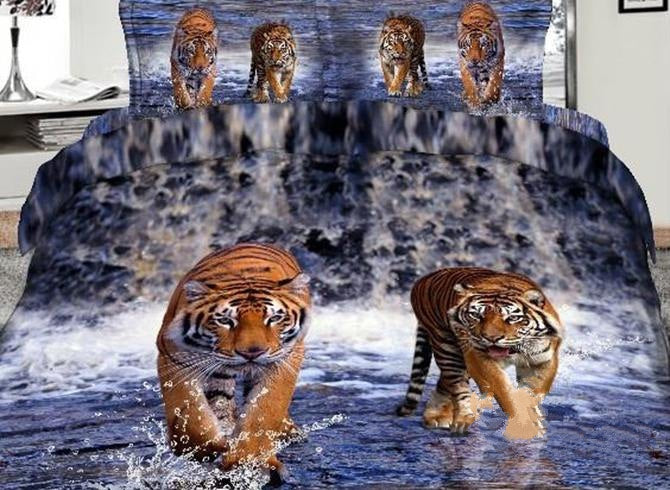 3D Tiger Walking in Waterfalls Printed Cotton Luxury 4-Piece Bedding Sets/Duvet Covers