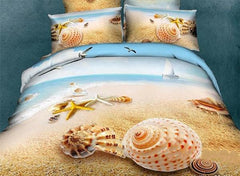 Starfish and Shell 3D Printed Mediterranean Style Cotton Luxury 4-Piece Bedding Sets