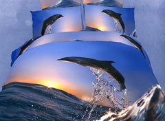 3D Jumping Dolphin with Sunset Printed Cotton Luxury 4-Piece Bedding Sets/Duvet Covers