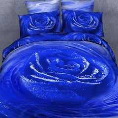 3D Blooming Blue Rose with Dewdrop Printed Cotton Luxury 4-Piece Bedding Sets