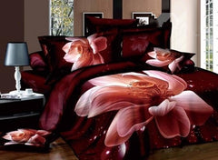 3D Lifelike Pink Lotus Printed Cotton Luxury 4-Piece Bedding Sets Duvet Cover
