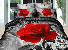 3D Red Rose and Leopard Printed Cotton Luxury 4-Piece Bedding Sets/Duvet Cover