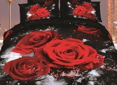 3D Red Roses Printed Cotton Luxury 4-Piece Black Bedding Sets/Duvet Covers