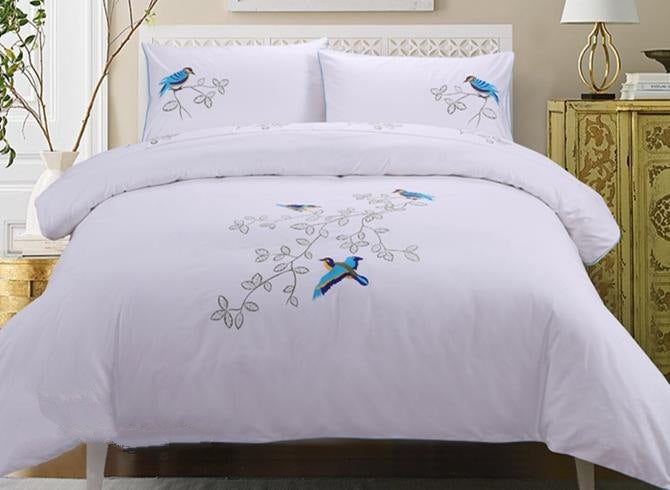 Blue Bird Printed Handmade Embroidery Cotton Luxury 4-Piece Bedding Set/Duvet Cover