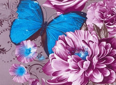 3D Blue Butterfly Surrounding Purple Flowers Printed Cotton Luxury 4-Piece Bedding Sets