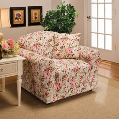 Pink Floral Jersey Stretch Slipcover, Couch Cover