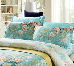 Colorful Blooming Flowers Retro Style Blue Luxury 4-Piece Bedding Sets/Duvet Cover