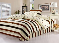 Classic Brown Black Stripe and Dots Beige 4-Piece Bedding Sets/Duvet Cover
