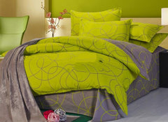 Full Size Coffee Swirls Abstract Pattern Green Cotton Luxury 4-Piece Bedding Sets/Duvet Cover