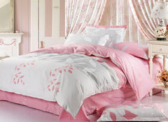 Fantastic White and Pink with Graceful Leaves Luxury 4 Piece Bedding Sets