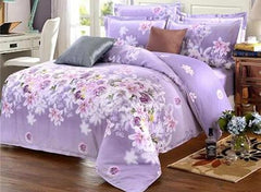 Purple Rose and Lily Print Cotton Luxury 4-Piece Bedding Sets