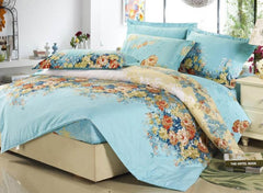 Retro Green Colorful Blooming Flowers Cotton Luxury 4-Piece Bedding Sets/Duvet Cover