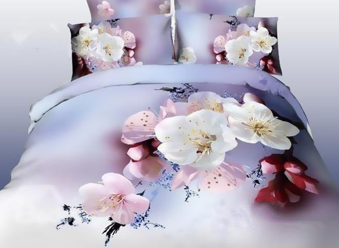 3D Pink and White Cherry Blossom Printed Cotton Luxury 4-Piece Bedding Sets