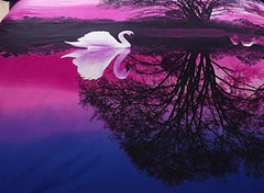 3D White Swans in Water Printed Polyester Luxury 4-Piece Purple Bedding Sets/Duvet Covers