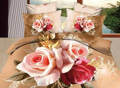 3D Red and Pink Roses Printed Cotton Luxury 4-Piece Bedding Sets/Duvet Covers