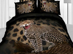 3D Roaring Leopard Printed Cotton Luxury 4-Piece Bedding Sets/Duvet Covers