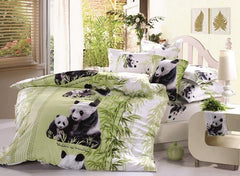 3D Mother and Baby Pandas Printed Cotton Luxury 4-Piece Bedding Sets/Duvet Covers