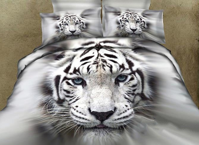 3D White Tiger Printed Cotton Luxury 4-Piece Bedding Sets/Duvet Covers