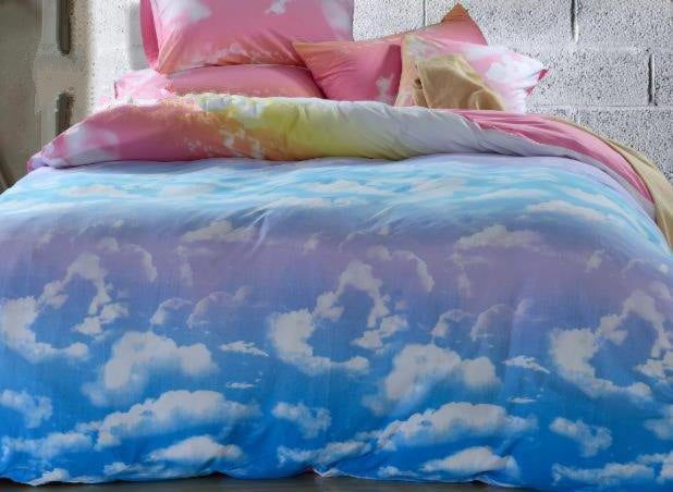 Lovely Clouds and Blue Sky Patterns Cotton Luxury 4-Piece Bedding Sets/Duvet Cover
