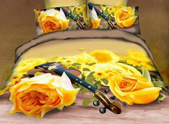 3D Yellow Roses and Violin Printed Cotton Luxury 4-Piece Bedding Sets/Duvet Cover
