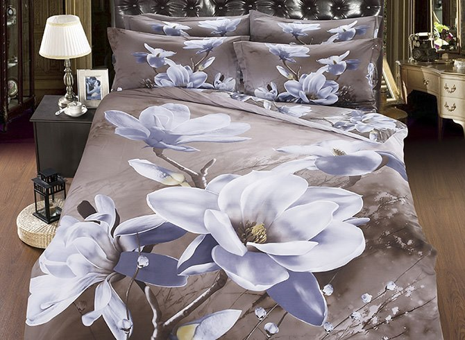3D White Magnolia Printed Cotton Luxury 4-Piece Bedding Sets/Duvet Cover