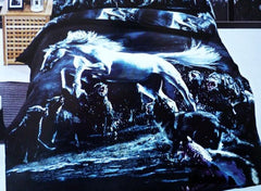 3D Jumping Horse and Wolves Printed Cotton Luxury 4-Piece Bedding Sets/Duvet Covers