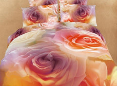 3D Blooming Colorful Roses Printed Cotton Luxury 4-Piece Bedding Sets/Duvet Cover
