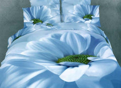 3D Blooming Blue Flower Printed Cotton Luxury 4-Piece Bedding Sets/Duvet Cover
