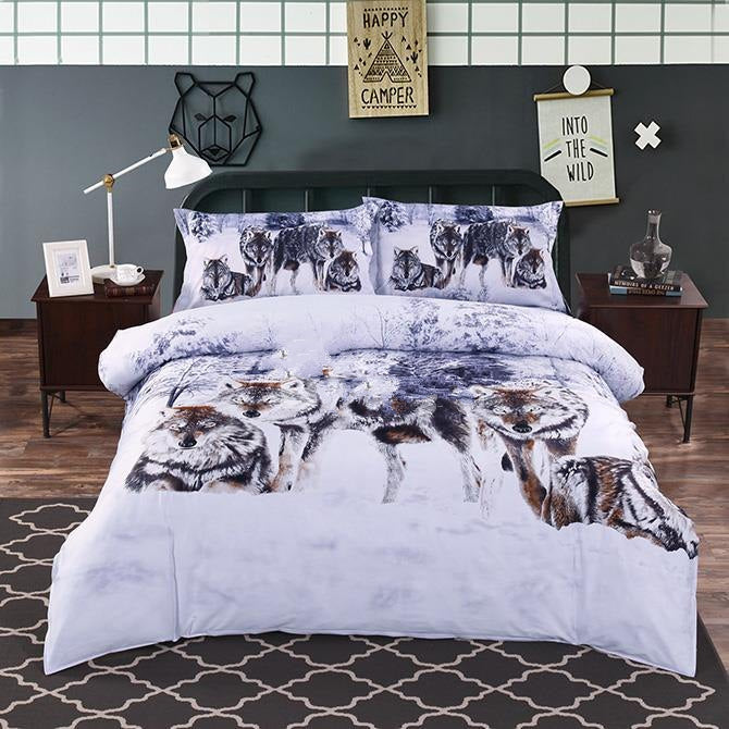 3D Snow Wolf in the Woods Printed Cotton Luxury 4-Piece Bedding Sets/Duvet Covers