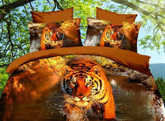 Vivid Tiger 3D Printed 4-Piece Polyester Luxury 3D Duvet Cover Sets